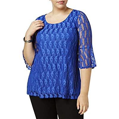 NY Collection Womens Plus Lace Bell Sleeve Pullover Top