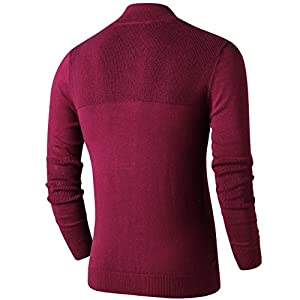 LTIFONE Men Sweater,Slim Zipper,Polo Sweater Casual Long Sleeve and Pullover with Ribbing Edge(Red,3XL)
