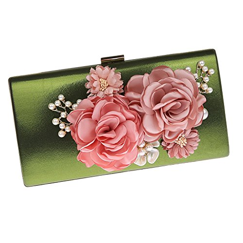 Black Party Clutch Evening Green Bags Satin Clutches Fenteer Purses Handbags Flowers Wedding Women wpqUWP1