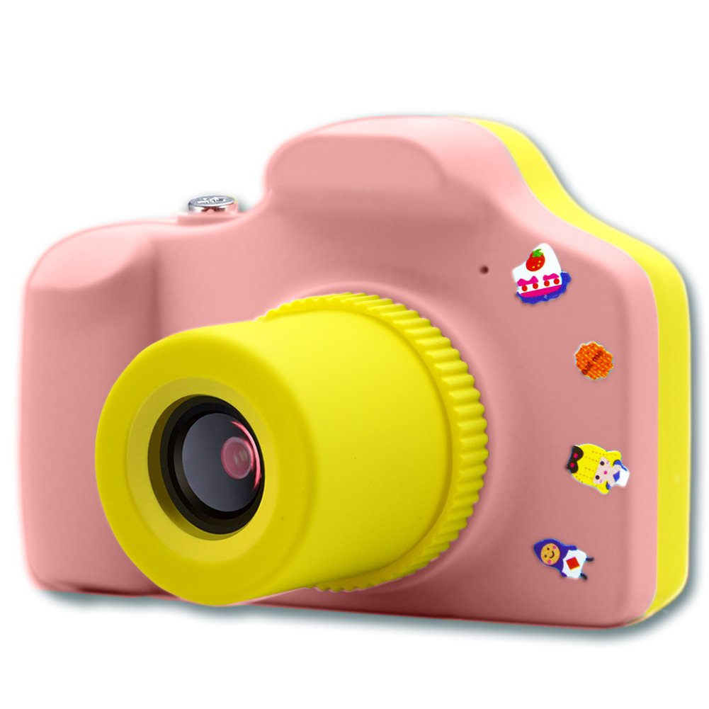 Kids Digital Camera Boys & Girls Toy Birthday for Children, Mini Action Camera with Micro SD Card by Elekmall (Pink)