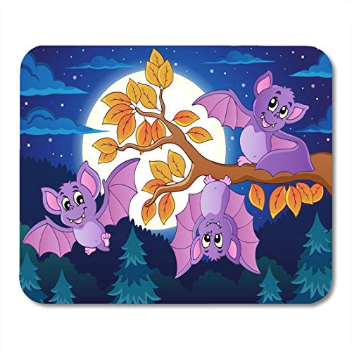 Mouse Pads Draw Animal Bats 5 Halloween Autumn Bough Branch Cute Drawing Mouse Pad for notebooks,Desktop Computers mats Office -