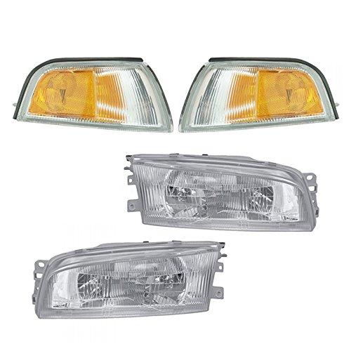 Headlights Lamps Corner Turn Signals Set of 4 for 97-02 Mitsubishi Mirage (Mitsubishi Mirage Set)