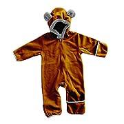 Funzies Baby Bunting Fleece Hooded Romper Bodysuit (BearBrown3-6m)
