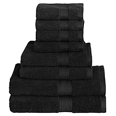 8 Piece Towel Set (Black); 2 Bath Towels, 2 Hand Towels & 4 Washcloths - Cotton By Utopia Towels