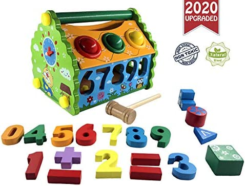 6 in 1 Educational Toy   My First House:Take Apart & Take Along Toy   Hammer Game   Learn: NumberCountingClockShapeColor   Wooden Birthday Kid Gift for Preschool Boy Girl Baby 3 4 5 6 7 8 Year Old