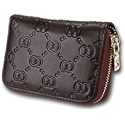 [Cyber Monday Clearance Deals Sale] Credit Card Organizer Wallet, Welegant RFID Blocking Genuine Leather Zipper Wallet Purse Case for Women Ladies Teen Girls (Bow, Coffee)