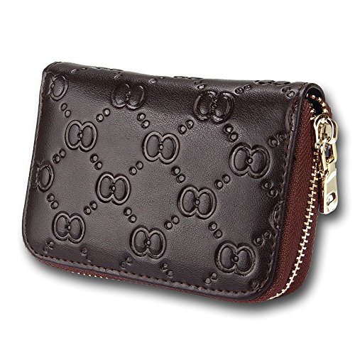 2017 Amazon Prime Deal Summer Clearance Sale-Credit Card Organizer Wallet, Welegant RFID Blocking Genuine Leather Zipper Wallet Purse Case for Women Ladies Teen Girls (Bow, Coffee)