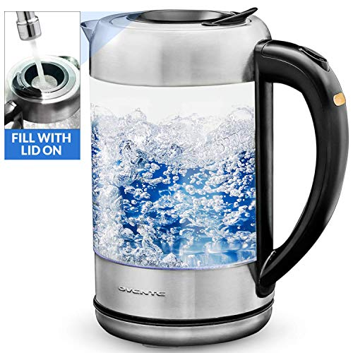 Ovente Glass Electric Kettle with ProntoFill Technology-Fill Up with Lid On (KG612S), 1.7L, Silver