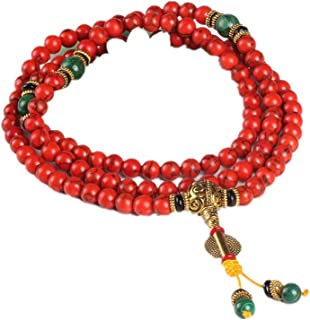 108 braccialetto di corallo rosso perline di pietra naturale mala collana buddista preghiera rosario filo braccialetti buddha