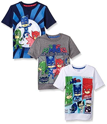 PJ MASKS Little Boys' 3 Pack Tees, Multi/b, 7