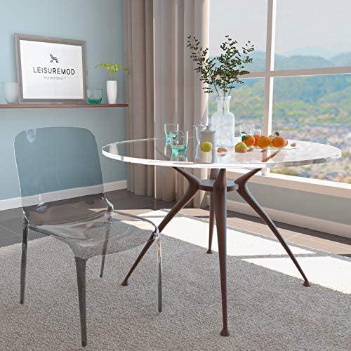LeisureMod Adler Mid-Century Modern Dining Side Chair Transparent Black