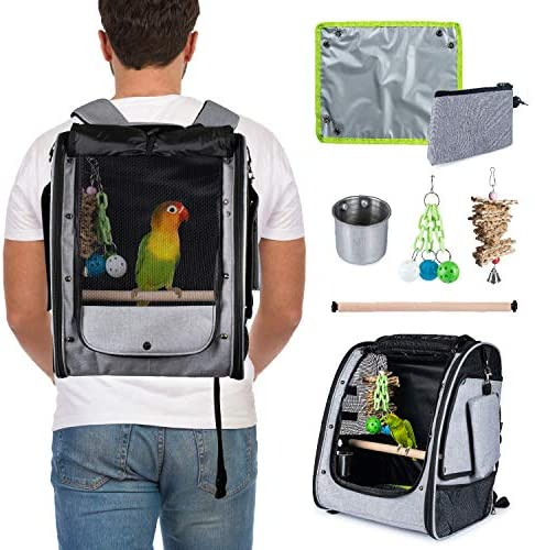 CHEERING PET Bird Carrier, Bird Backpack, Travel Bird Cage, Includes Tray, Perch, Feeding Bowl, Storage Pockets