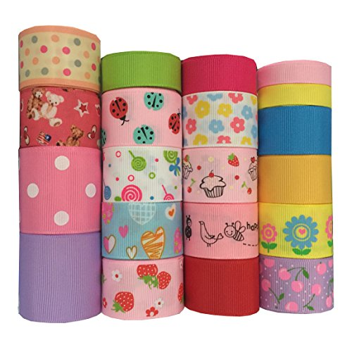 DUOQU 20 Yards Mixed Style/Size  20*1yd  Solid Grosgrain Satin Printed Ribbon Multicolour Valued Packing Funny Series