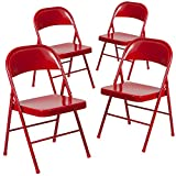 Flash Furniture 4 Pk. HERCULES Series Double Braced Red Metal Folding Chair