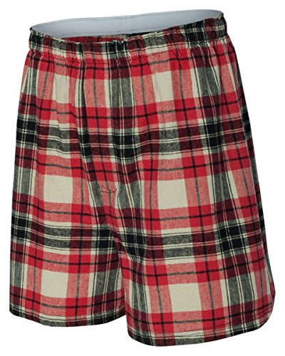 Boxercraft Men's Relaxed Elastic Flannel Boxer Short, Small, Redwood