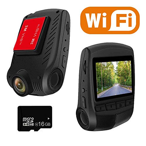 WiFi Dash Cam Full HD 1296P 2.0 LCD 170 Wide Angle Car Camera Dash Camera for car with 16GB TF Card Included