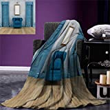 Antique Digital Printing Blanket Empty Room Two Doors Armchair Simple Mirror Golden Color Frame Custom Design Cozy Flannel Blanket 80''x60'' Blue Sand Brown