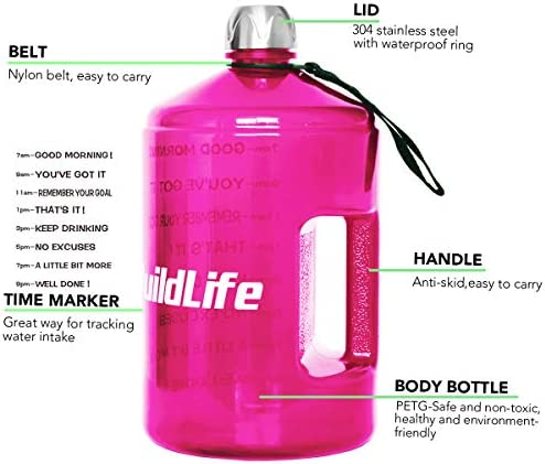 BuildLife 1 Gallon Water Bottle Motivational Fitness Workout with Time Marker/Drink More Daily/Clear BPA-Free/Large 128OZ /73OZ /43OZ Capacity 51Kc pvak7L