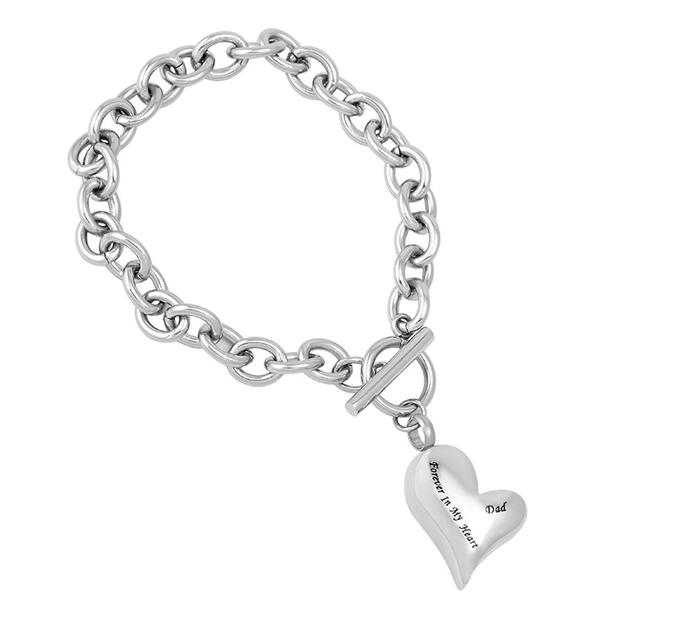 EternityMemory Customized Dad/Mom/Son/Grandpa/Grandma Forever In My Heart Urn Pendant with Link Chain Bracelet Cremation Jewelry for Ashes (Dad)