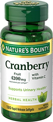 Nature's Bounty Cranberry Pills and Vitamin C Herbal Health Supplement, Supports Urinary Health, 4200mg, 120 Softgels, 3 ()
