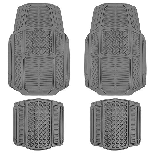 Motor Trend MT824 Gray RuggedEarth Car Rubber Floor Mats for Auto Sedan Truck SUV Van - All Weather Deep-Cut Catch-All Liners