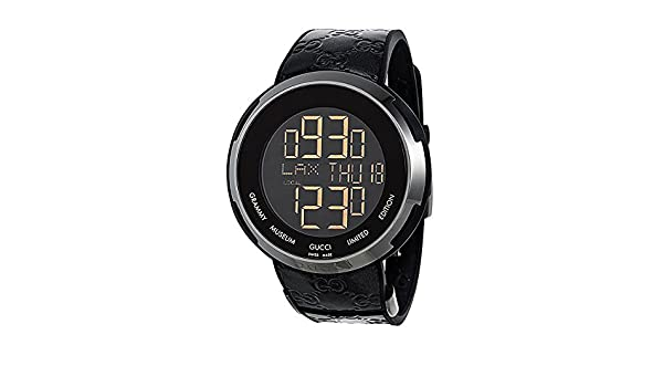 125030bcb96 Amazon.com  Gucci I-Gucci Leather Digital Grammy Museum Limited Edition  Watch YA114101  Watches
