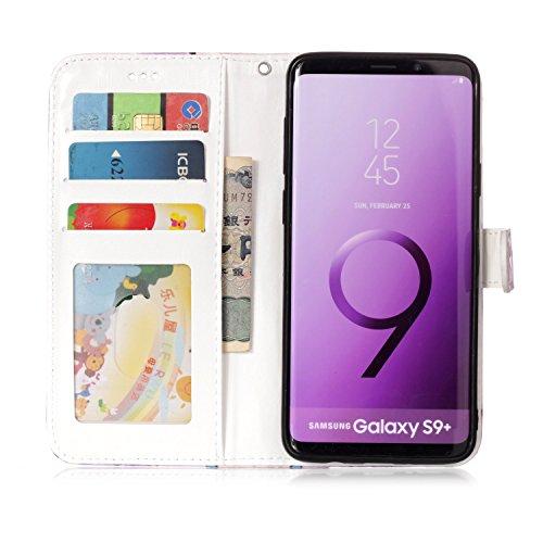 Funda Samsung Galaxy S9 Plus 2018 , Sunroyal Cáscara Libro Suave PU Leather Cuero Bookstyle Wallet Cubierta Caja Cobertura Carcasa Impresión Tirón Plegar [Flip Cover Cierre Magnético Función de Soport Diseño 08