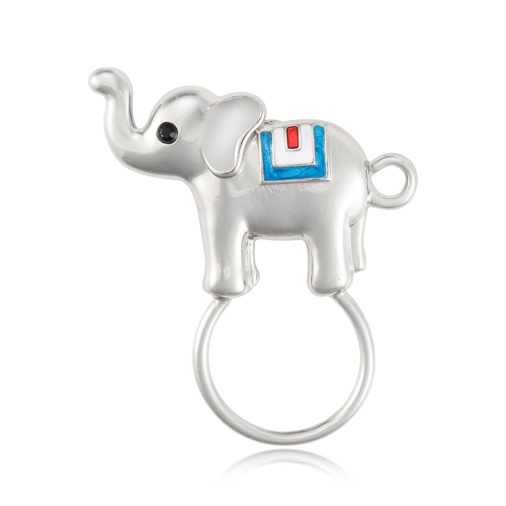 TUSHUO Enamel Elephant Eyeglass Holder Simple Animals Strong Magnetic Clip Brooch Lucky Elephant Jewelry (Silver)