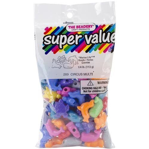 The Beadery 4-Ounce Bag of Marelife Beads Circus Multi Colors 1254SV289