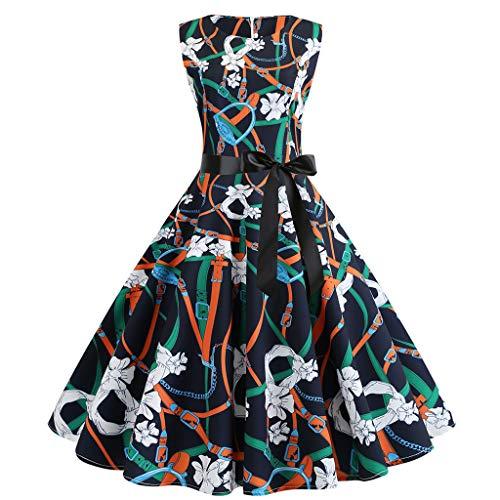 WOCACHI Womens Vintage Dresses Sleeveless Floral Party Prom Retro Swing Dress Sundress Pocket Apron Tunic Plain Boat Neck Corduroy Pinafore Bib Button Cocktail