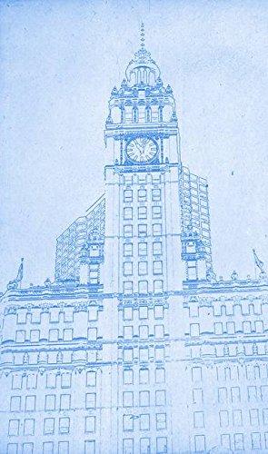 Amazon wall art print entitled the wrigley building in chicago wall art print entitled the wrigley building in chicago blueprint by celestial images 6 x malvernweather Image collections