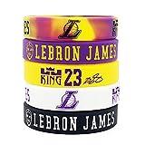 NBA Basketball Lebron James Portrait Bracelet Number 23 Silicone Inspirational Word Sport Wristband 5 Pcs