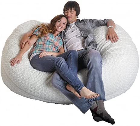 SLACKER sack 6-Feet Giant Foam Luxurious Fur Beanbag Chair