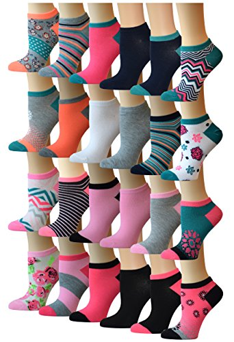 Top Step Women's 24 Pairs Colorful Patterned Low Cut/No Show Socks