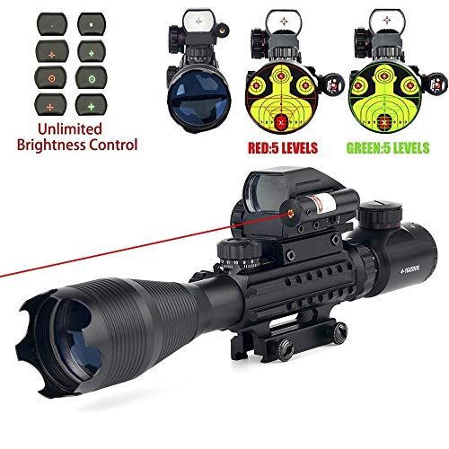 THEA 4-16x50 Tactical Rifle Scope Red/Green Illuminated Range Finder Reticle W/Red Laser and Holographic Reflex Dot Sight (12 Month Warranty) (Best Scope For 200 Yards)