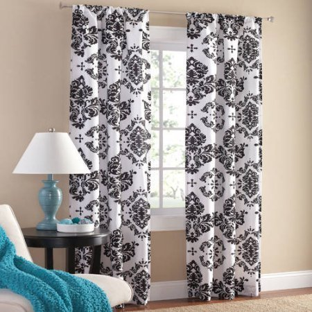 Polyester Classic Noir Polyester Curtain Panel, Set of 2, Black/White