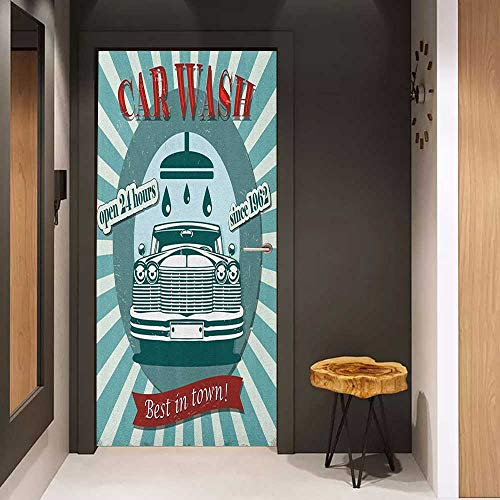 Door Sticker Retro Vintage Graphic Design for a Car Wash Sign Commercial with Aged Classic Retro Arsty Glass Film for Home Office W23 x H70 Red Teal