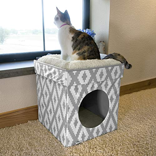 Ziggies Cube - Kitty City Large Cat Bed, Cat Cube, Cat House/Cat Condo, Pop Up Bed, Stackable Bed