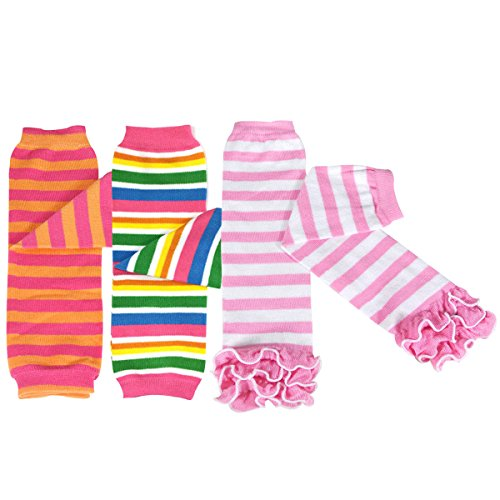 Bowbear Baby 3-Pair Leg Warmers, Stripes in Orange & Pink, Rainbow, Pink Ruffle
