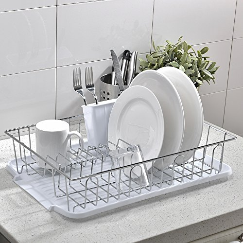 Glanzhaus 3-Piece Steel Metal Wire Dish Drainer Rack, Chrome Dish Rack With White - Wire Drainer White Dish