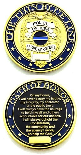 Thin Blue Line Shield Oath of Honor Challenge Coin