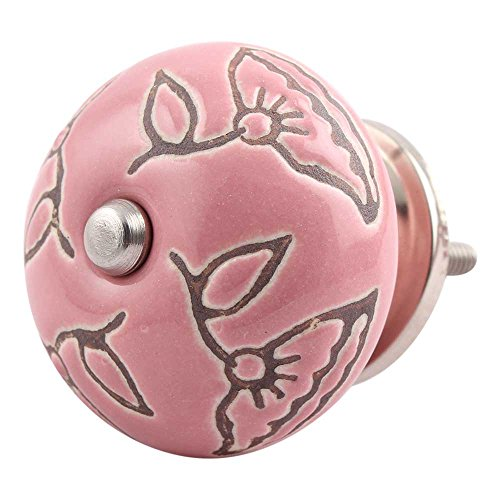 Indianshelf Handmade 20 Piece Rust Free Artistic Furniture Pulls Decorated Etched Drawer Knobs Calla Lily Ceramic Pink