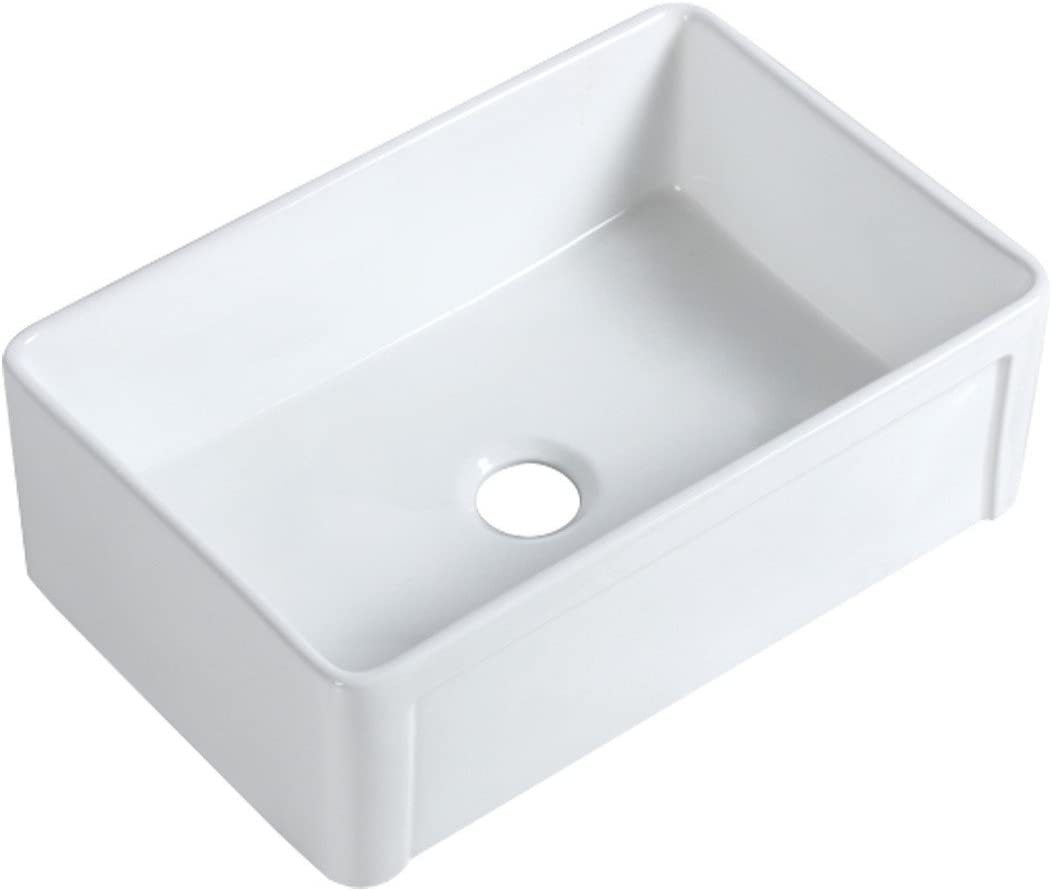 Renovators Supply Manufacturing 30 Farmhouse Kitchen Sink White Apron Front Single Basin Porcelain Grade A Vitreous China