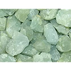 Zentron Crystal Collection: 1/2 Pound Natural Rough Aquamarine Stones with Velvet Bag