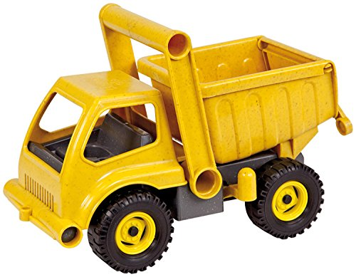 LENA Eco Dump Truck Toy for boys with Easy Grab Handle and Flip Open Cab, Made of Sprigwood Like Wood Plastic Resin Mix, Eco-sustainable Material