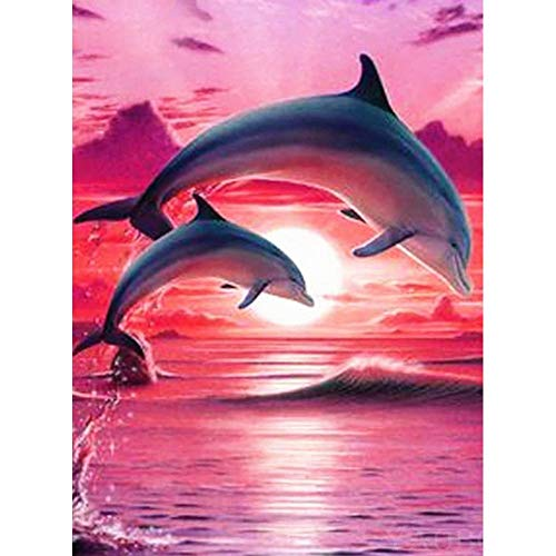 DIY Diamond Painting Kits Mosaic Making for Beginner 5D DIY Full Drill Diamond Painting Cross Stitch Embroidery Kit - Dolphin