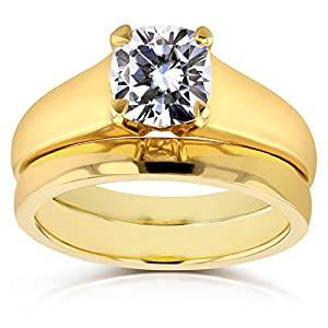 Cushion Moissanite Classic Solitaire Bridal Set 1 1/10 CTW 14k Yellow Gold