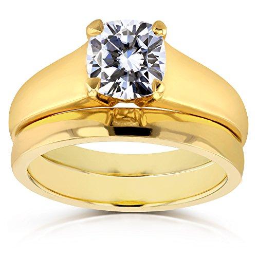 Cushion Moissanite Classic Solitaire Bridal Set 1 1/10 CTW 14k Yellow Gold