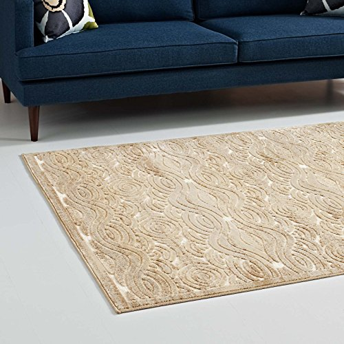 Modway Kennocha Rustic Vintage Abstract Waves 5x8 Area Rug in Tan and Cream