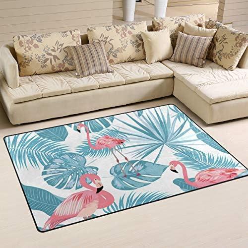 S Husky Flamingo Palm Leaf Area Rug Mat